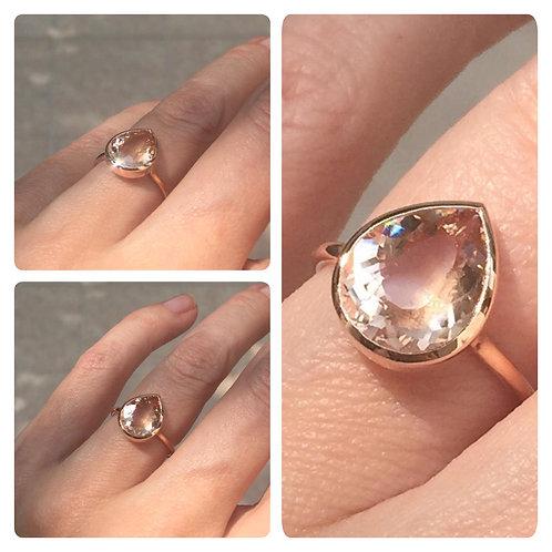 3 Carat Pear Cut Morganite Ring