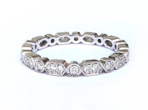Art Deco Hex and Round Diamond Ring