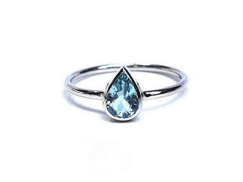 Bezel Set Aquamarine Pear Ring