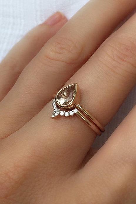 Pear Cut Morganite and Diamond Nesting Ring Set