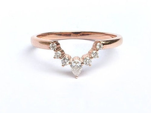 Diamond Nesting Ring for Pear and Round Shapes