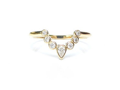 Bezel Set Diamond Nesting Ring for Round and Pear Shapes