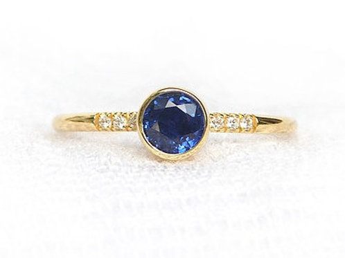 Bezel Set Blue Sapphire Diamond Accent Ring