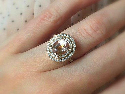 Morganite Oval Double Diamond Halo Ring