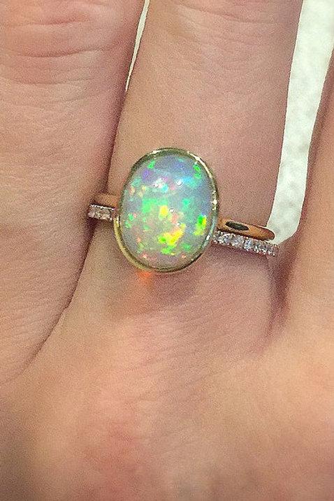 Bezel Set Oval Ethiopian Opal Ring 11mm 14mm
