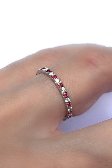 Classic Diamond and Ruby Eternity Ring 1.35mm