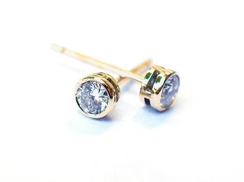 Bezel Set Solitaire Diamond Earrings