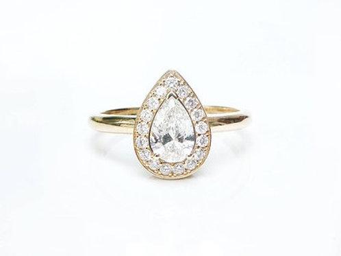 Pear Cut Diamond Halo Ring Yellow Gold