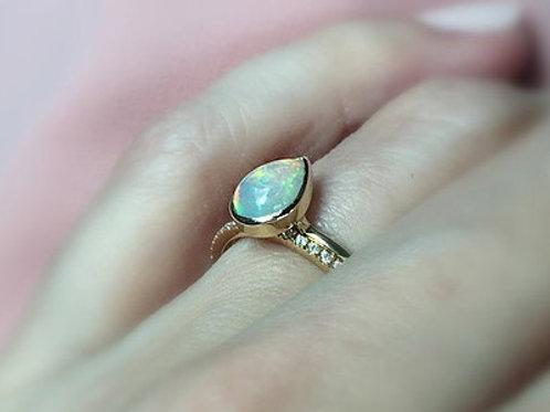Bezel Set Ethiopian Opal Pear Ring