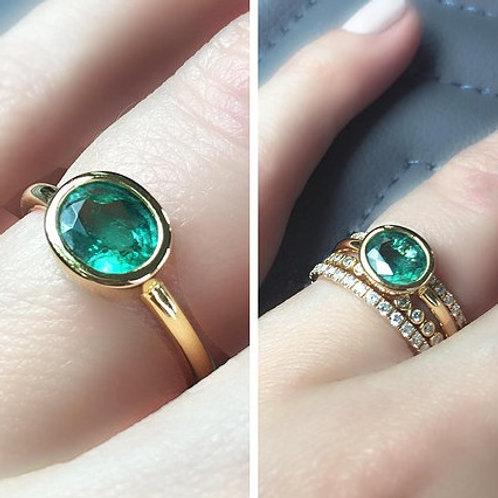 Bezel Set Oval Zambian Emerald Ring 0.85ctw