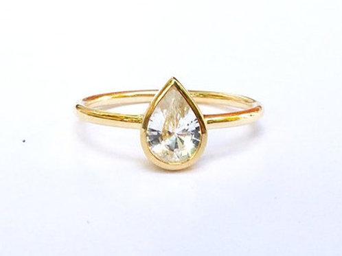 Bezel Set White Topaz Pear Ring