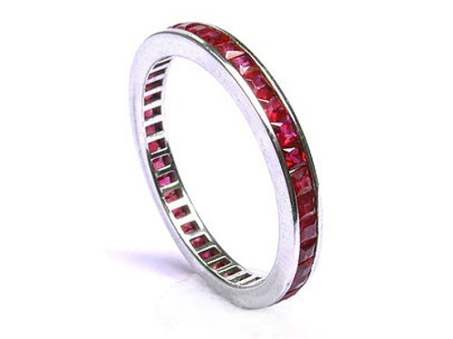 Channel Set Princess Cut Ruby Eternity Ring