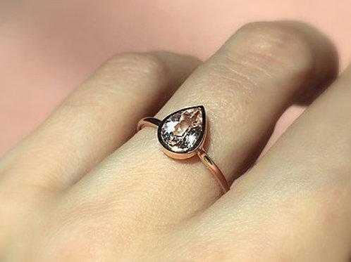 Bezel Set Morganite Pear Ring