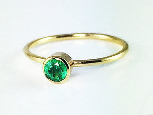 Bezel Set Round Zambian Emerald Ring