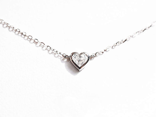 Bezel Set Heart Cut Diamond Necklace