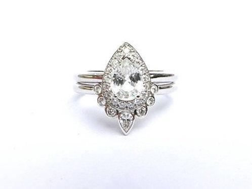Pear Cut White Sapphire and Bezel Set Diamond Nesting Ring Set