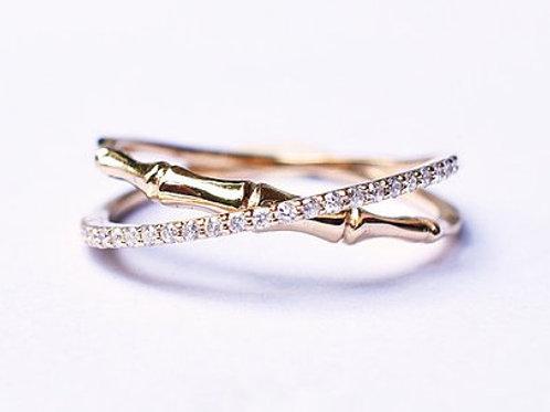 Bamboo Diamond Eternity Crossover Ring