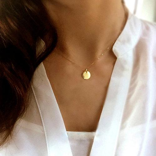 Engravable Gold Disc Necklace