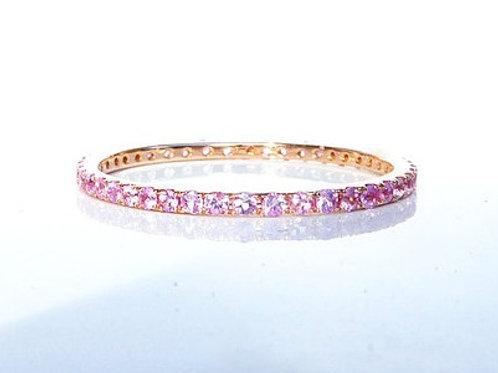 Classic Light Pink Sapphire Eternity Ring 1.35mm 1.6mm