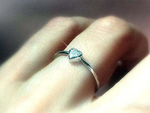 Heart Cut Diamond Round Band Ring