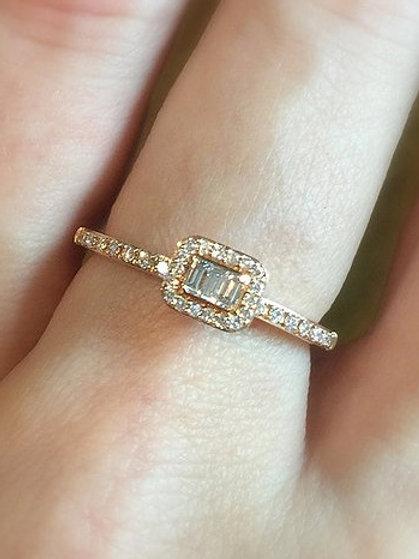 3 Baguette Diamond Halo Ring