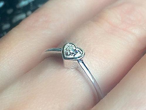 Bezel Set Heart Cut Diamond Ring
