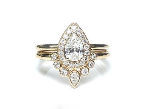 Pear Cut Diamond and Bezel Set Diamond Nesting Ring Set