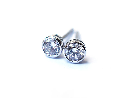 Bezel Set Solitaire Diamond Earrings