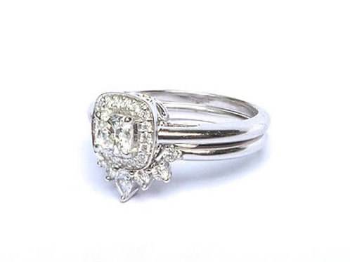 Cushion Cut Diamond Halo and Diamond Nesting Ring Set