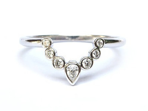 Bezel Set Diamond Nesting Ring for Pear and Round Shapes