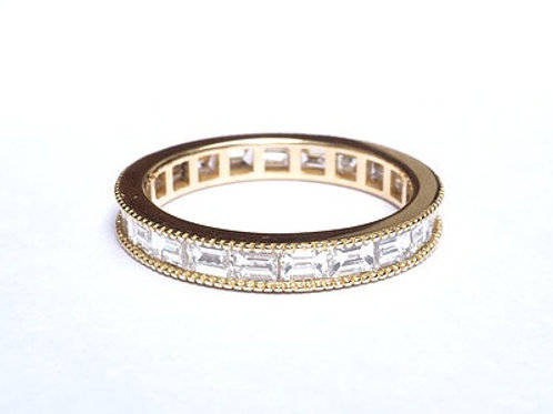 Milligrain Edged Channel Set Diamond Baguette Eternity Ring