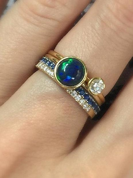 Bezel Set Ethiopian Black Opal Ring 7mm