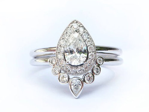 Pear Cut Diamond and Bezel Set Diamond Nesting Ring Set in White Gold