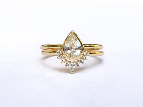 Pear Cut White Topaz and Nesting Ring Set