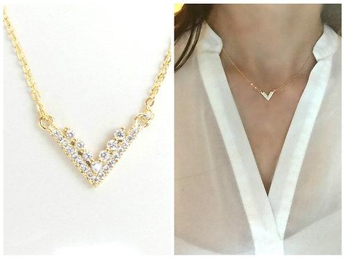 Double Chevron Diamond Necklace
