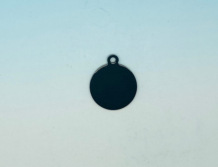 Stainless Steel Pet Tags - Round (Black)