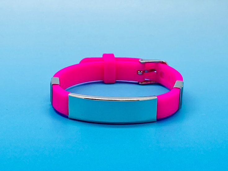 Ladies Steel - Silicone Bracelet (Hot Pink)