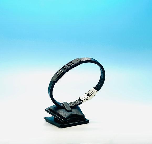 Mens Steel - Black Leather Bracelet (Black)