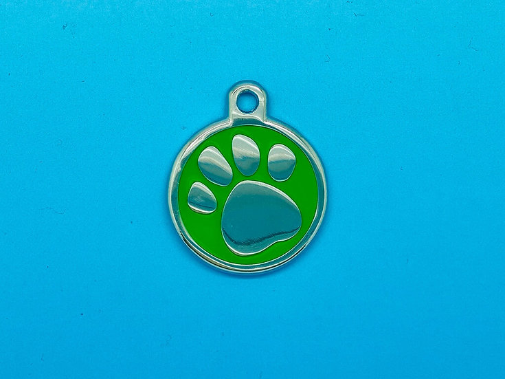 DELUXE Pet Tags - Green Paw