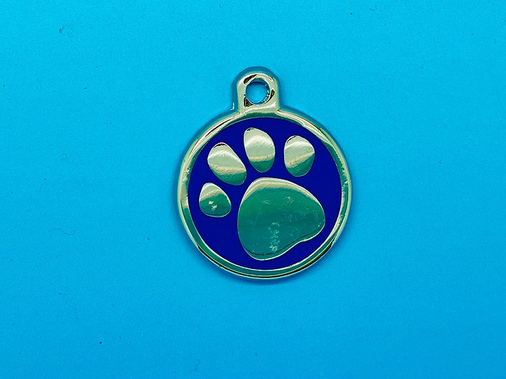DELUXE Pet Tags - Blue Paw