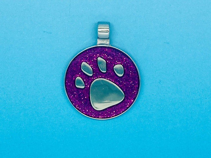 RED DOT Pet Tags - Purple Circle Glitter Paw Print