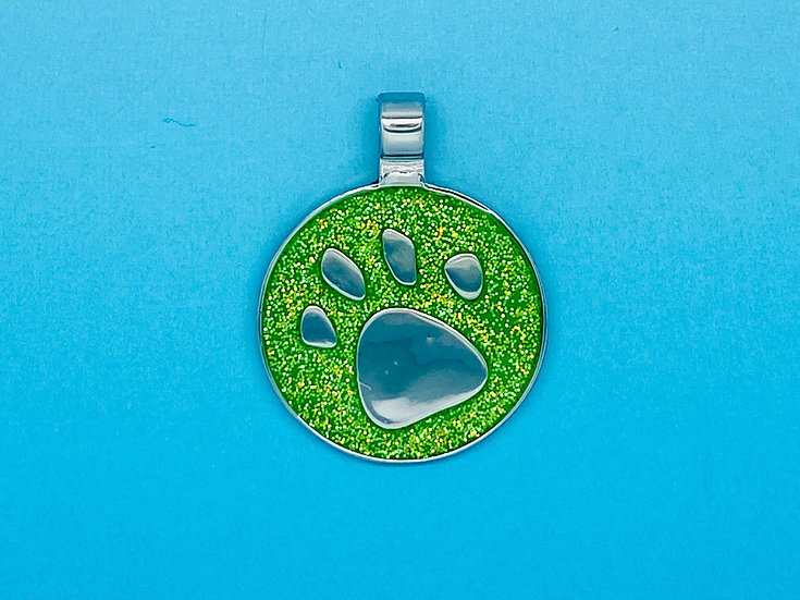 RED DOT Pet Tags - Green Circle Glitter Paw Print