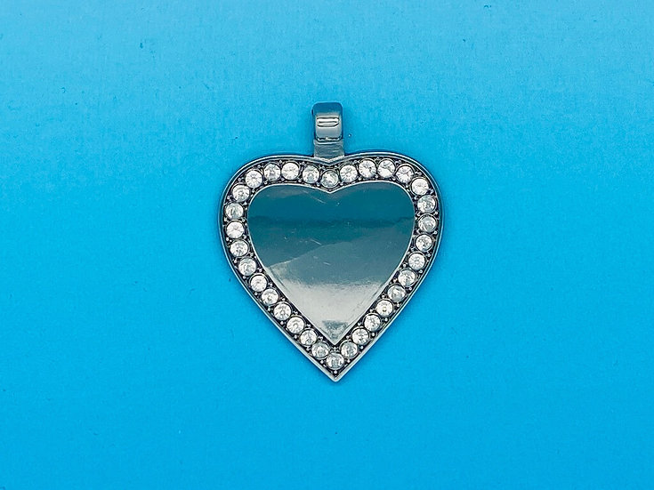 RED DOT Pet Tags - Silver Clear Bling Heart