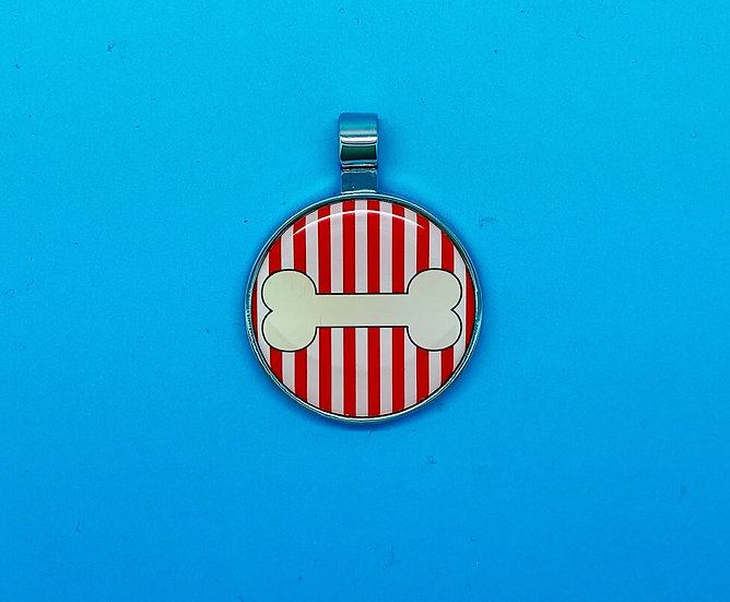 RED DOT Pet Tags - Bone with Red Stripe