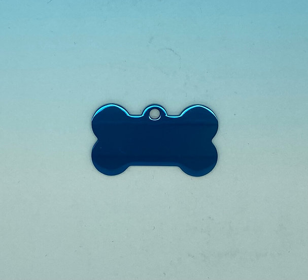 Stainless Steel Pet Tags - Dog Bone (Blue)