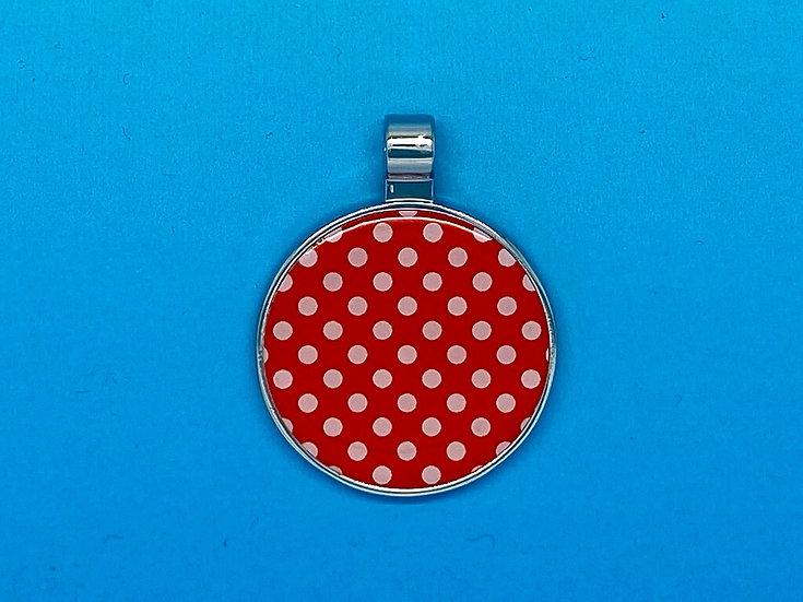 RED DOT Pet Tags - Circle Red & White Polka Dot