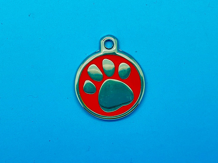 DELUXE Pet Tags - Red Paw