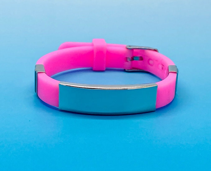 Ladies Steel - Silicone Bracelet (Pink)