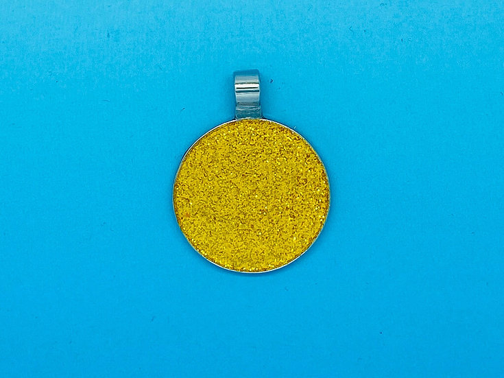 RED DOT Pet Tags - Yellow Circle Glitter