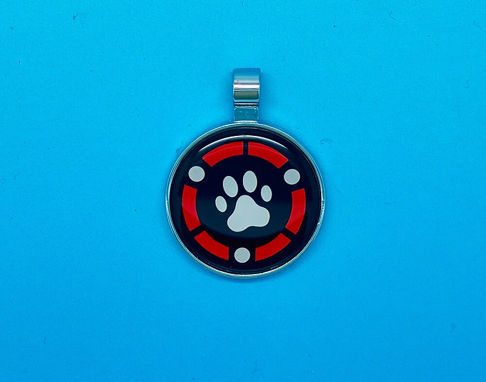 RED DOT Pet Tags - Paw in Red Circle
